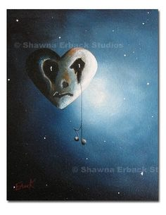 GOTHIC FANTASY ART lowbrow macabre sad moon with by shawnaerback, $19.99