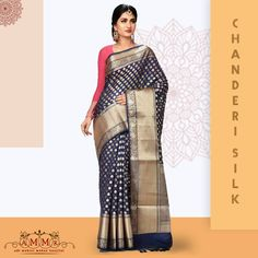Add the super stunning festive attire to your wardrobe with this Chanderi from Silk Sarees Online, Festive, Ethnic, Chiffon, Sari, How To Wear, Shopping, Collection, Fashion