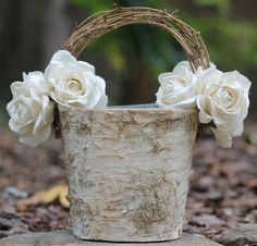 Flower Girl Basket Rustic Wedding, Birch With Twig Handle, Cream Paper Roses, Rustic Wedding, Shabby Chic Wedding. $46.50, via Etsy.