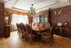 classic and traditional dining room decorating ideas, wooden furniture and beautiful chandeliers