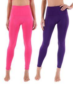 Purple & Pink Fleece-Lined High-Waist High-Waist Leggings Set - Women by H2Gear Fashions #zulily #zulilyfinds