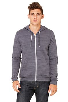 06b0ebceb89 Bella + Canvas Poly-Cotton Fleece Full-Zip Hoodie in Dark Gray Marble