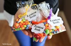 Rainbow Seeds for St Pattys - skittles crafts, candy crafts, rainbow