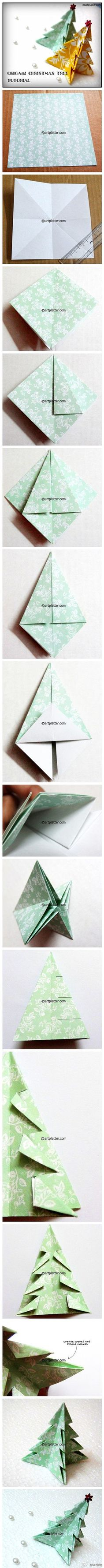 折纸 靓图 纸艺 #折纸教程# 动手折圣诞树啦~~~(转自几分钟…