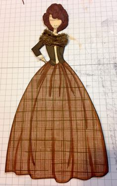Another Claire Randall Fraser paper doll. Trying to mimic those fabulous knitted shawls she wears in the Outlander series. Made her using Julie Nuttings Marisol paper doll stamp.