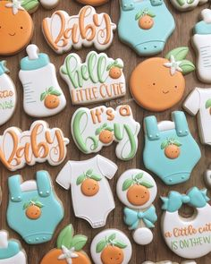 Little cutie baby shower cookies! I kept thinking I needed to airbrush on some of these but I love the clean look and how they all came… Baby Cookies, Baby Shower Cookies, Cute Cookies, Royal Icing Cookies, Sugar Cookies, Baby Shower Parties, Baby Shower Themes, Baby Boy Shower, Baby Shower Fruit