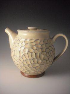 Hand thrown earthenware tea pot
