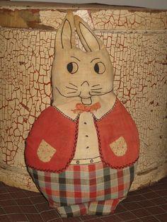 Folk Art Deco Rabbit Doll Primitive Cloth Excelsior Straw Textile Linen. $75.00, via Etsy.