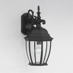 Designer's Fountain Tiverton 18.25-in H Black Outdoor Wall Light
