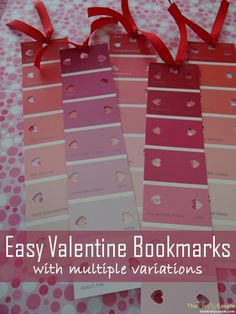 Easy Valentine Bookmarks From Paint Sample Strips and Scrapbook Paper