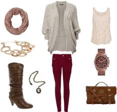 Colored jeans, boots, and lots of red and rust accents - great cozy fall look