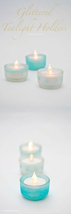 Learn how to make a glittered tealight holder set that would look really cute for a summer dinner party or a beach themed wedding. Very budget friendly!