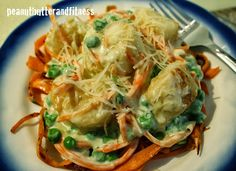 Scallops and Sweet Potato Noodles with Guilt Free Alfredo Sauce