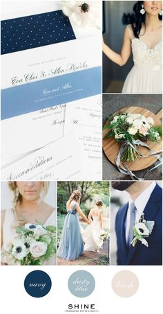 Dusty Blue, Navy, and Blush Wedding Inspiration - Anemone Bouquet, Navy Suit, Dusty Bue Bridesmaids Dress, Blush Bridesmaids Dresses, Lace Wedding Dress, Garden Bouquet
