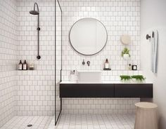 White bathroom ideas with white subway tile bathroom and floating vanity and sink plus shower room and round mirror bathroom for small bathroom decorating ideas Laundry In Bathroom, Bathroom Inspo, Bathroom Renos, Bathroom Inspiration, Bathroom Interior, Bathroom Ideas, Bathroom Designs, Bathroom Remodeling, Bathroom Makeovers