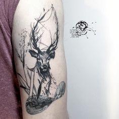 #deer #illustration #tattoodesign #design #ebru #ebrusanatı #marblingart #marblingpaper #tattoo #ink #inked #bodyart #art #blackwork