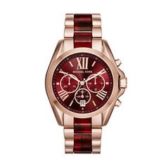 Michael-Kors-Bradshaw-Red-Unisex-Mk6270-Rose-Gold-Two-Tone-Watch