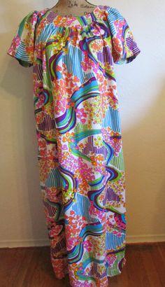 Vintage Barkcloth Cotton Psychedelic Flower Power Bright Hawaiian Muumuu Dress by timegonebyvintage. Explore more products on http://timegonebyvintage.etsy.com