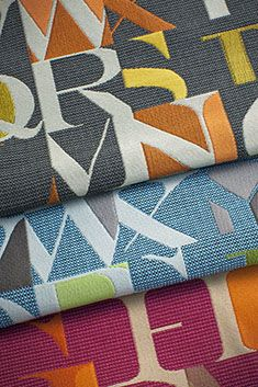 Momentum Group Typography Collection: Patterns include: Allegory, Hearsay, and Small Talk; bleach cleanable and finished InCase Crypton Alphabet Art, Fabulous Fabrics, Awards, Upholstery, Typography, Textiles, Interior Design, Small Talk, Prints