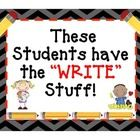 Follow Amy Haffly on TpT:  This writing bulletin board display is perfect for any grade level, and can be kept up all year long...  Simply change the student work on display!...