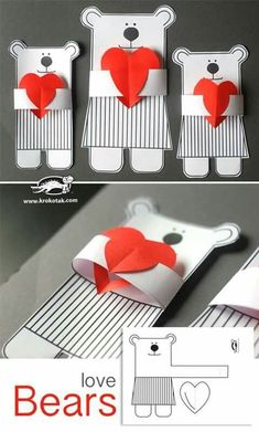 Love Bears - adorable and easy to make. Great classroom Valentines craft for pre. Love Bears – adorable and easy to make. Great classroom Valentines craft for preschoolers. Kids Crafts, Craft Projects For Kids, Preschool Crafts, Diy For Kids, Activities For Kids, Diy And Crafts, Paper Crafts, Diy Paper, Valentines For Kids