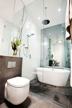 Ensuite Bathroom With Walk In Wet Area Containing Shower And Bath
