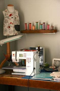 Yummy sewing space.