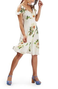 Topshop 'Vanilla Bloom' Ruffle Cold Shoulder Wrap Midi Dress (Petite) available at #Nordstrom