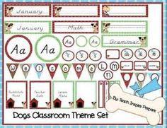 Adorable dog themed classroom decor set