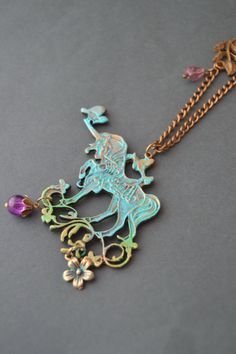 Long large unicorn necklace / Art Nouveau style by Valkyrie´s Song