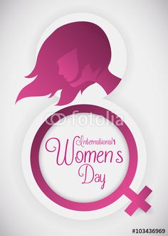 Silhouette for a Pretty Woman and Women's Symbol for her Commemorative Day