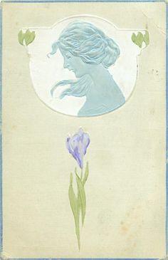 1908 Art Nouveau Embossed Postcard