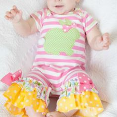 Peaches 'N Cream Bunny Romper with Headband from Freckles Children's Boutique for $64.00