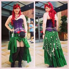 Steampunk Ariel costume at SDCC - Great spin on the character. The fishnet sarong is probably my favorite part. :-) - COSPLAY IS BAEEE!!! Tap the pin now to grab yourself some BAE Cosplay leggings and shirts! From super hero fitness leggings, super hero fitness shirts, and so much more that wil make you say YASSS!!!