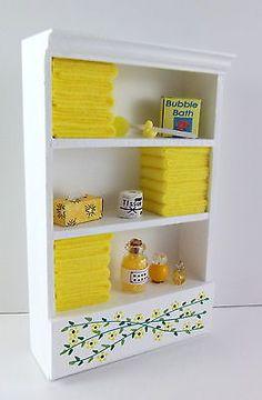 Dolls House Miniature Bathroom Furniture Shelf Unit Lemon Towels Accessories