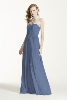 """This extra length mesh convertible bridesmaid dress keeps your bridal party cohesive while giving everyone the chance to personalize her look. Fabric ties let you create any neckline you feel comfortable in: halter, tank, cap sleeves, one-shoulder, and more.  4"""" extra length versa convertible mesh dress.  Polyester  Back zipper; fully lined  Dry clean  Imported  Available in Missy sizes as Style F15782."""