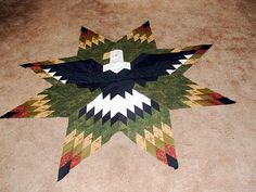 Quilts n Quirks: Lone Star Eagle project Lone Star Quilt, Star Quilts, Quilt Blocks, Southwestern Quilts, Eagle Project, Star Quilt Patterns, Square Patterns, Indian Quilt, Native American Patterns