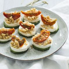 Cucumber and goat cheese snacks - Cucumber and goat cheese snacks – Nice recipes - Healthy Party Snacks, Vegan Snacks, Tapas, Healthy Recepies, Cheese Snacks, Good Food, Yummy Food, Eat Smart, Food Festival