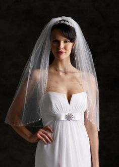 Gorgeous New With Tag Crystal And Pearl Embellished Elbow Length Veil, 20% off | Recycled Bride  $80