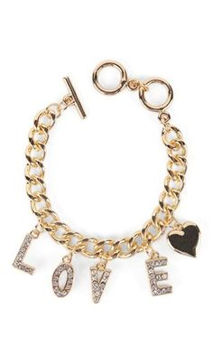 Deb Shops Chain Link Bracelet with Love and Heart Charms $5.00