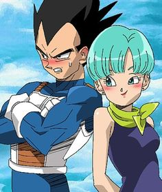 DBZ Vegeta and Bulma - when he blushes it's the most adorable thing XD
