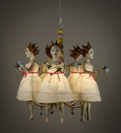 """Kathy Ruttenberg Sculpture, """"Dear Ladies"""" How funny and how clever Paperclay, Up Halloween, Creepy Dolls, Nocturne, Altered Art, Amazing Art, Art Dolls, Art Projects, Whimsical"""