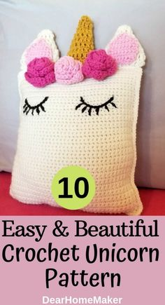 10 Free Crochet Unicorn Pattern For Your Sweetheart Crochet Home, Free Crochet, Crochet Rugs, Crochet Unicorn Pattern, Crochet Patterns, Unicorn Cushion, Bag Pattern Free, Unicorn Headband, Unicorn Crafts