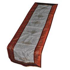 Ivory Table Runner Orange Border Silk