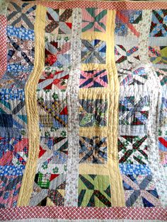 VINTAGE ANTIQUE HANDMADE QUILT X PATCH WORK BLOCK KENTUCKY FEED SACK QUILT 30s VIBRANT COLORS