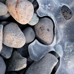 Rock | Pebble | Stone | 岩 | 石 | Pierre | камень | Pietra | Piedra | Color | Texture | Pattern | pebbles and ice