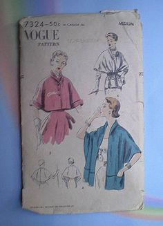 Vintage 50s Cape or Stole Vogue Pattern M 34 36 by TheSpectrum on Etsy