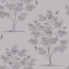 Bird Tree (40550) - Albany Wallpapers - Delicate leafed tree motif, with birds - created in mottled metallic silver colour on a warm light grey background. Other colours available. Please request sample for true colour match.