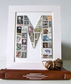 I think something like this would be sooo cute as a vintagey, rustic-ish hanging monogram.