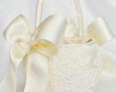 Ivory Satin Flower Girl Basket with Ivory by UniquelyYouBridal